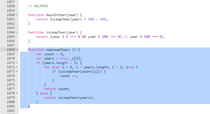 function numLeapYears
