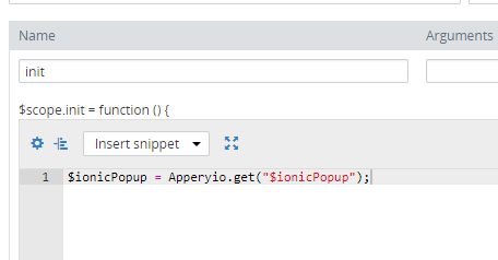 ionicPopup component in Apperyio application